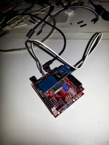 DS1302 daughterboard attached to digital IO pins 37, 38 & 39 on uC32 and Wifi shield